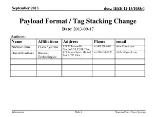 Payload Format / Tag Stacking Change