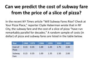 Can we predict the cost of subway fare from the price of a slice of pizza?