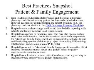 Best Practices Snapshot Patient & Family Engagement