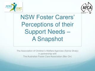NSW Foster Carers' Perceptions of their Support Needs –  A Snapshot