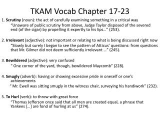 TKAM  Vocab  Chapter 17 -23