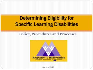 Determining Eligibility for Specific Learning Disabilities