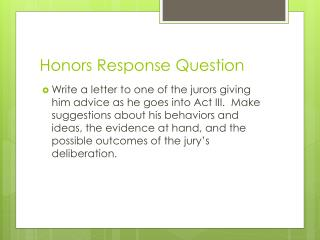 Honors Response Question