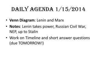 DAILY AGENDA 1/15/2014