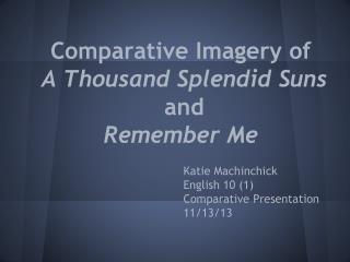 Comparative Imagery of A Thousand Splendid Suns  and  Remember Me