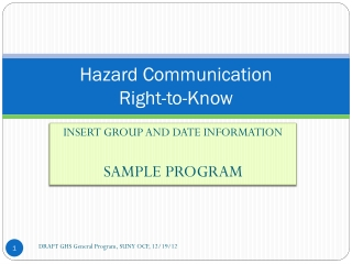 Hazard Communication  Hazardous Materials Safety