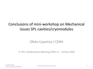 Conclusions of mini-workshop on Mechanical issues SPL cavities/ cryomodules