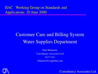 IIAC   Working Group on Standards and Applications  20 June 2000