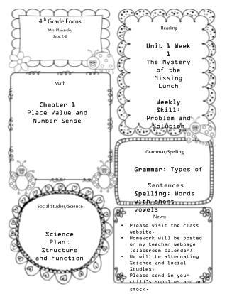 4 th  Grade Focus Mrs.  Planavsky Sept. 2-6