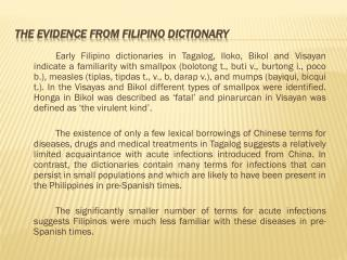 The evidence from Filipino Dictionary