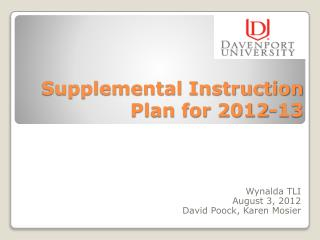 Supplemental Instruction Plan for 2012-13