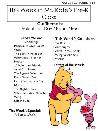 This Week in Ms. Kate's Pre-K Class