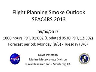 Flight Planning Smoke Outlook SEAC4RS 2013