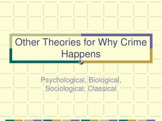 Other Theories for Why Crime Happens