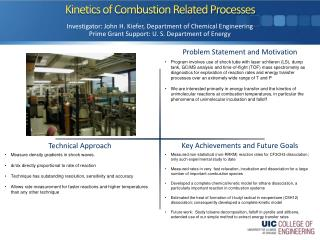 Kinetics of Combustion Related Processes