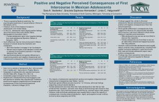 Positive and Negative Perceived Consequences of First Intercourse in Mexican Adolescents