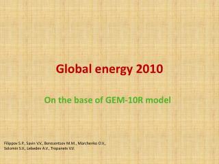 Global energy  2010