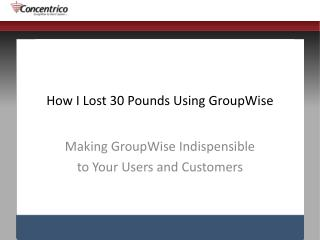 How I Lost 30 Pounds Using GroupWise