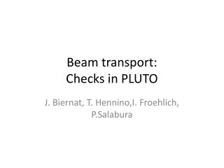 Beam  transport: Checks  in PLUTO