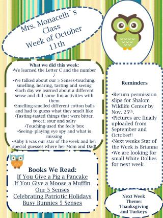 Mrs. Monacelli`s Class Week of October   11 th