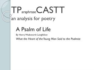 TP araphrase CASTT an analysis for poetry