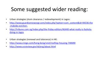 Some suggested wider reading: