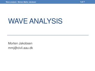 Wave analysis