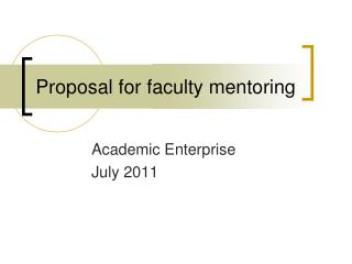 Proposal for faculty mentoring