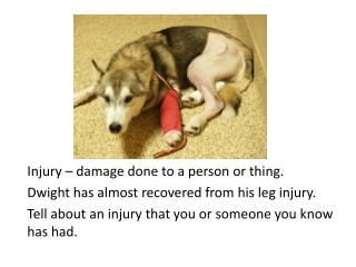 Injury – damage done to a person or thing. Dwight has almost recovered from his leg injury.