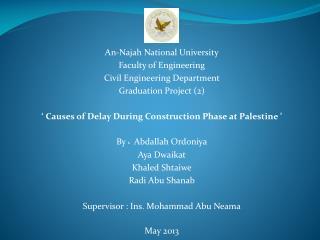 An- Najah  National University Faculty of Engineering Civil Engineering Department