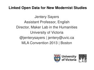 Linked Open Data for New Modernist Studies