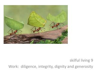 s kilful living 9 Work:  diligence, integrity, dignity and generosity