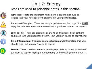 Unit 2: Energy Icons are used to prioritize notes in this section.