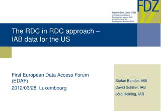 The RDC in RDC approach –  IAB data for the US