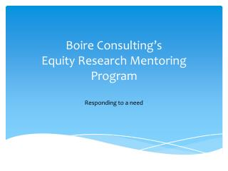 Boire Consulting's Equity Research Mentoring Program
