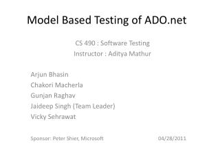 Model Based Testing of  ADO