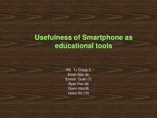 Usefulness of Smartphone as educational tools