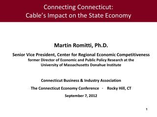 Connecting Connecticut:   Cable's Impact on the State Economy