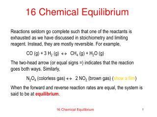 16 Chemical Equilibrium