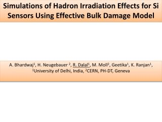 Simulations of  Hadron  Irradiation Effects for Si Sensors Using Effective Bulk Damage Model