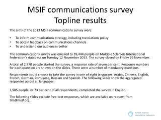 MSIF communications survey Topline  results