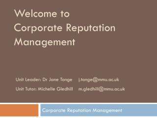 Welcome to  Corporate Reputation Management