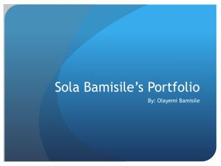 Sola Bamisile's Portfolio