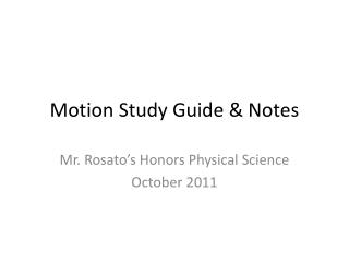 Motion Study Guide & Notes