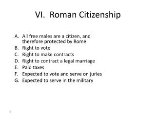 VI.  Roman Citizenship