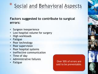 Social and Behavioral Aspects