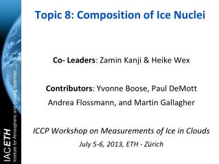 Topic 8: Composition of Ice Nuclei