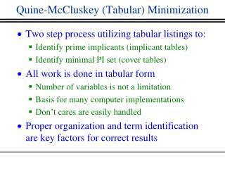 Quine-McCluskey (Tabular) Minimization