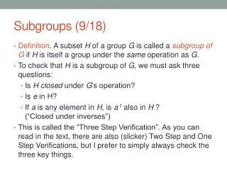 Subgroups (9/18)