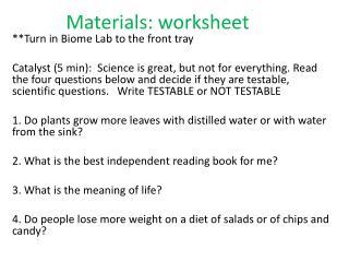 Materials: worksheet